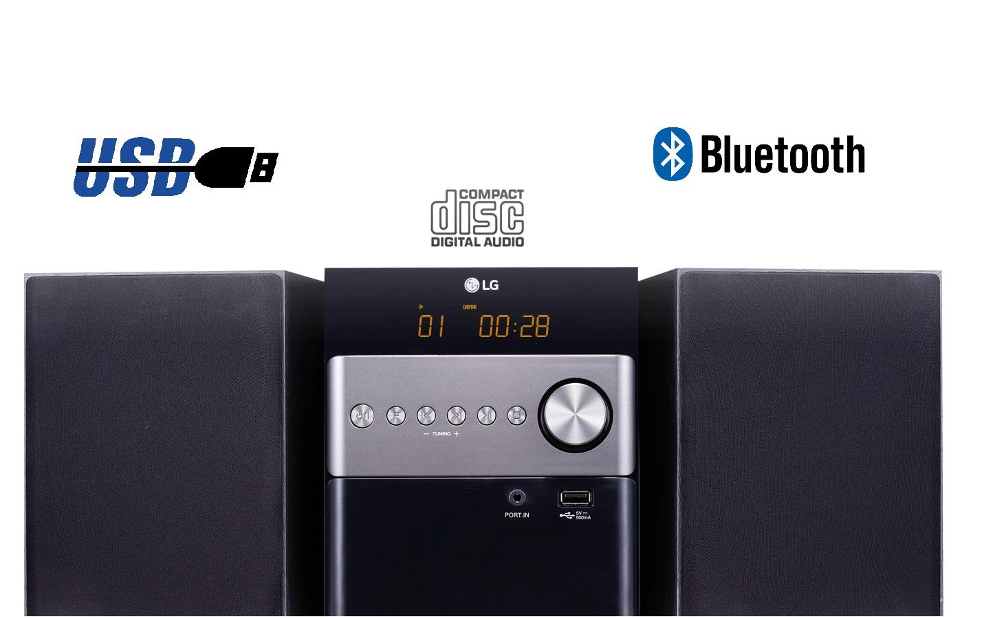 מגניב מערכת סטריאו מיני ביתי USB | מערכת סטריאו ביתית בלוטוס LG CM1560 PL-06