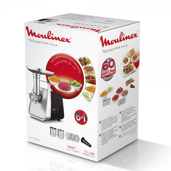 מטחנת בשר + מעבד מזון מולינקס MOULINEX ME306832